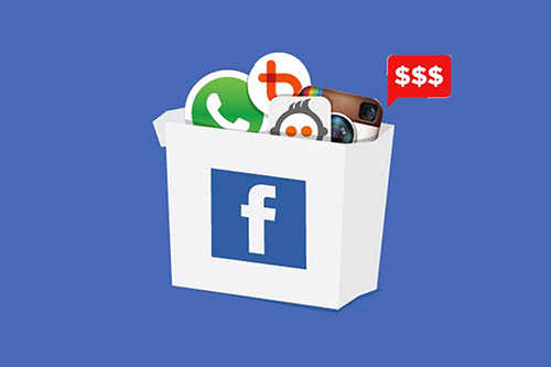 A white box with the Facebook icon. the box contains other social media icons including WhatsApp and Instagram.