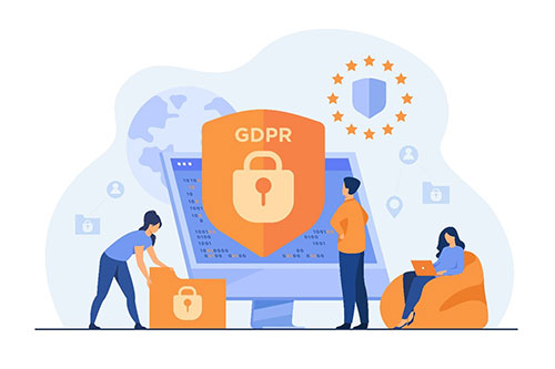 Vector image of people using electronic devices around a shield which says GDPR