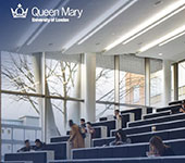 cover of LAC 2019-20 Annual Report showing students in a lecture theatre with the Queen Mary logo in the top left corner