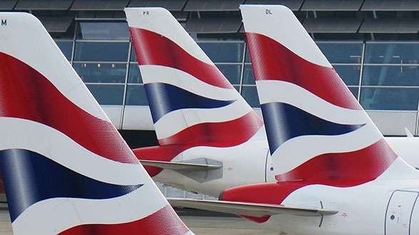 A fleet of planes with the Union Jack on the tail
